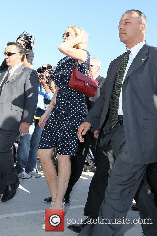 Arrives at the Los Angeles County Superior Court...