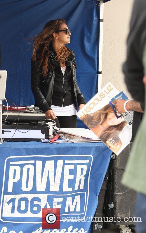 Liz Hernandez aka Luscious Liz broadcasting her radio...