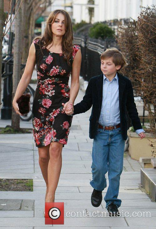 Liz Hurley  leaving her home with her...