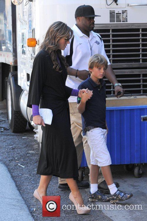 Liz Hurley is seen shooting on the set...