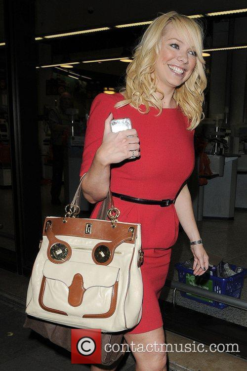 Liz McClarnon in Mayfair in a red dress