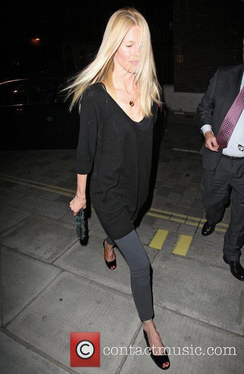 Claudia Schiffer leaving Locanda Locatelli restaurant London, England