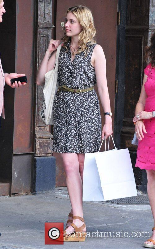 Greta Gerwig on the set of her new...