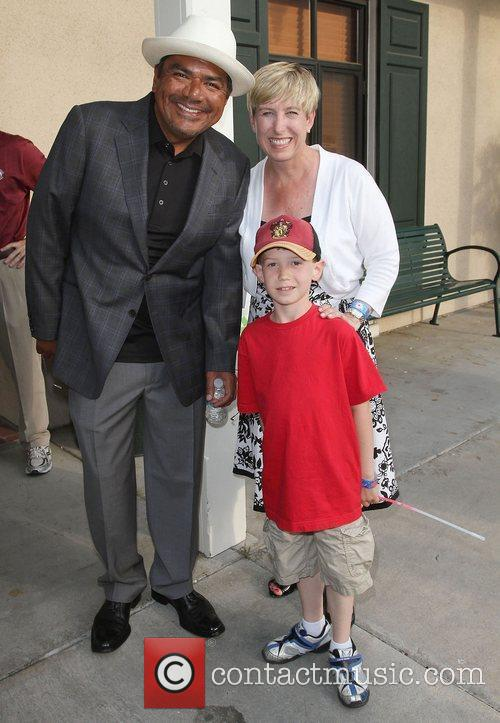 George Lopez, Wendy Greuel and her son Thomas,...
