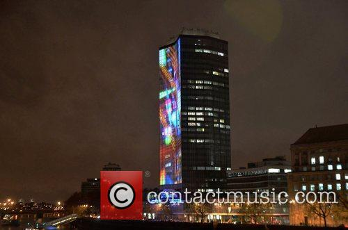 A 4-D visual image is projected onto London's...
