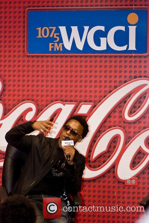Is interviewed at the WGCI Coca Cola Lounge...