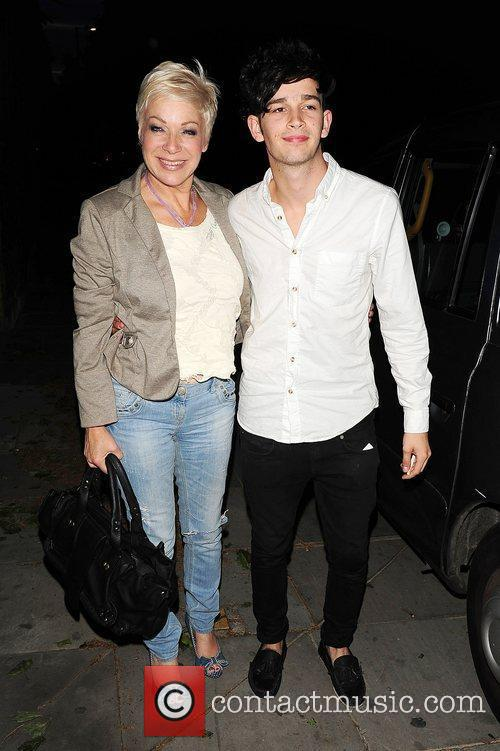 Denise Welch and her son out in Chelsea...