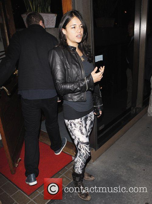 Michelle Rodriguez leaving Madeo restaurant Los Angeles, California