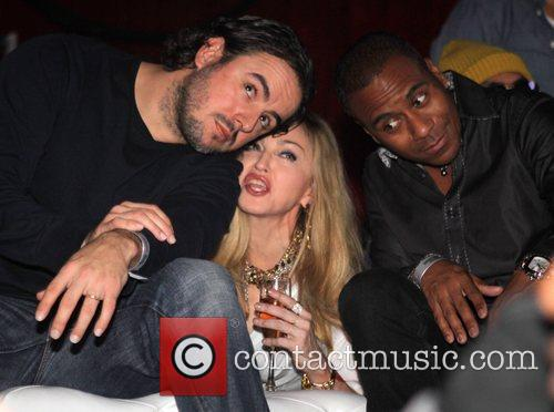 Madonna with her choreographers Rich and Tone Talauega...