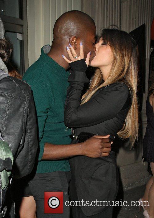 Gabriella Ellis kissing,  at Mahiki nightclub London,...