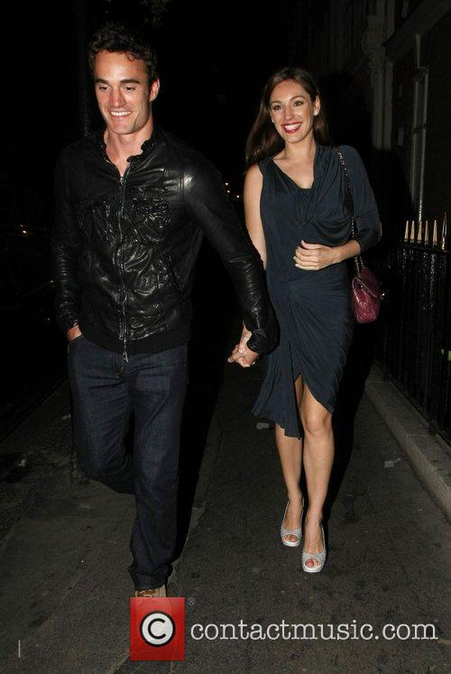 Kelly Brook and Thom Evans are all smiles...