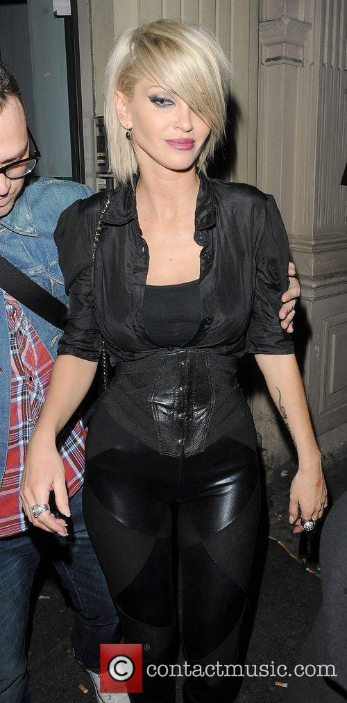 Sarah Harding leaving Mahiki nightclub.