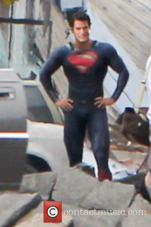 Filming on the set of the new Superman...
