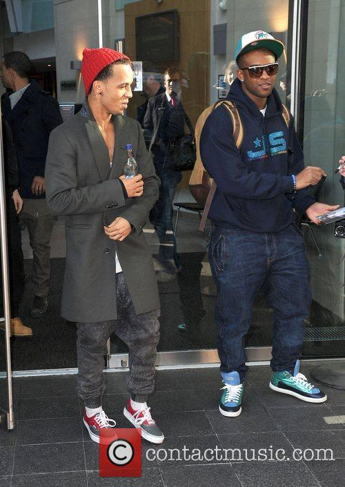 Aston Merrygold and Ortise Williams of JLS leaves...