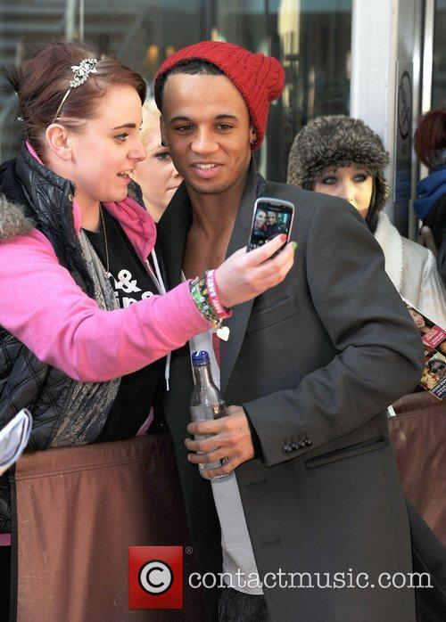 Aston Merrygold of JLS leaves his hotel. Manchester,...
