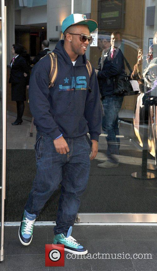 Ortise Williams of JLS leaves his hotel.