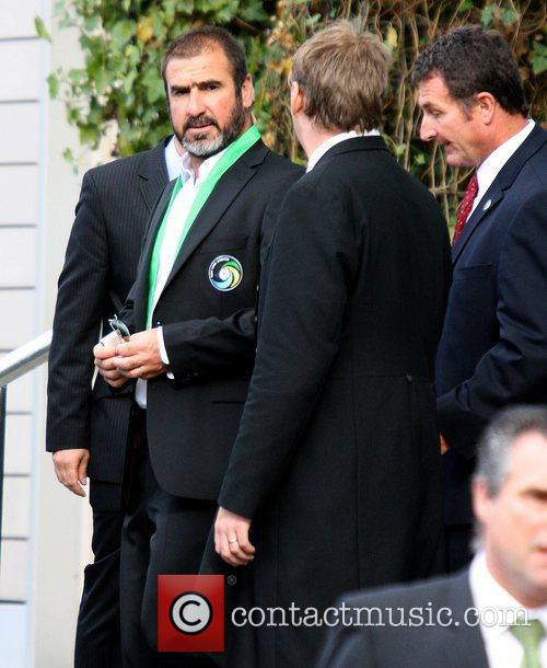Eric Cantona leaving his the Lowry Hotel to...