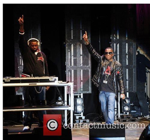 Tinchy Stryder performing live at the Manchester City...