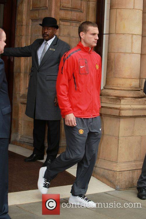 Nemanja Vidic leaves his London hotel London, England