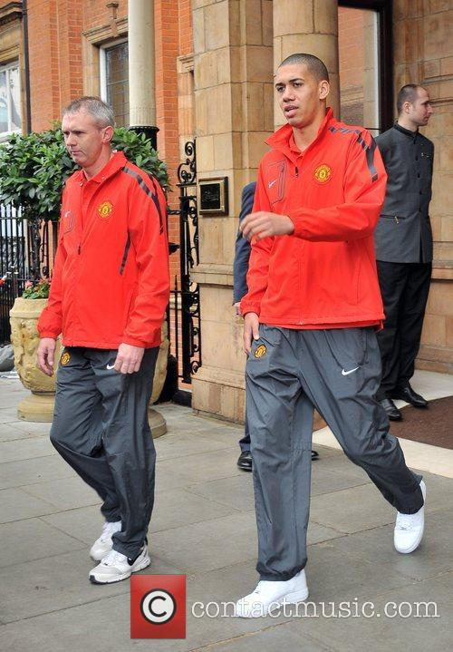 David May and Chris Smalling leave their London...