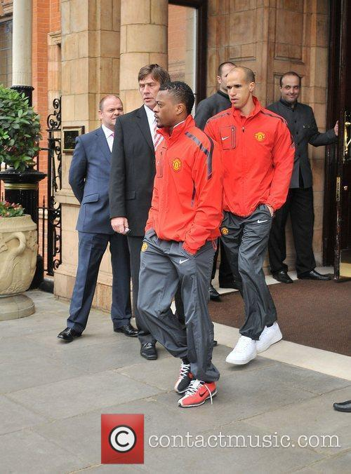 Patrice Evra and Gabriel Obertan leave their London...