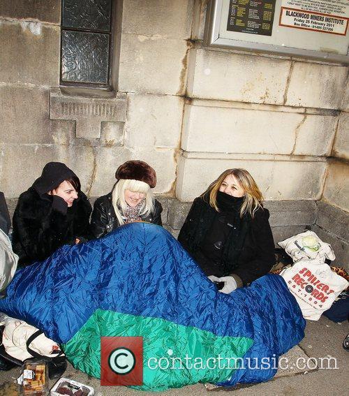 Fans wait outside Blackwood Miners Welfafe Institute where...