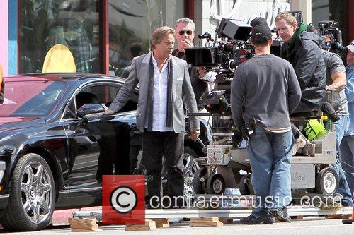 Don Johnson filming on the set of the...