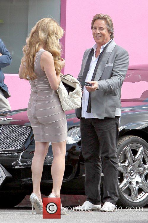 Heidi Marnhout and Don Johnson filming on the...