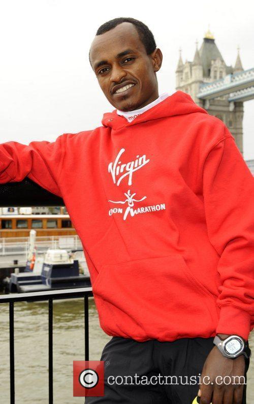 Tsegaye Kebede Virgin London Marathon 2011 photocall and...