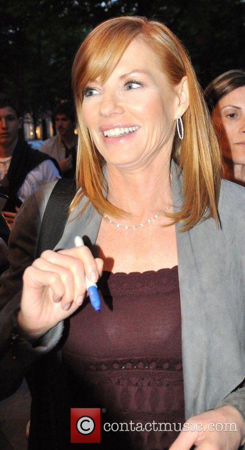 Marg Helgenberger arrives at the Hotel Plaza Athenee...