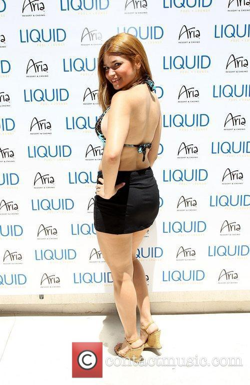 Attends a birthday celebration at Liquid Pool Lounge...