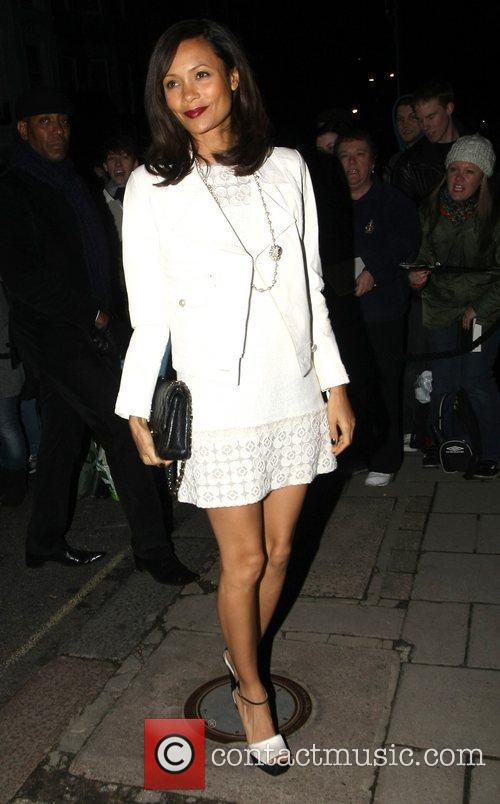 Thandie Newton arrives at Mark's Club in Mayfair...