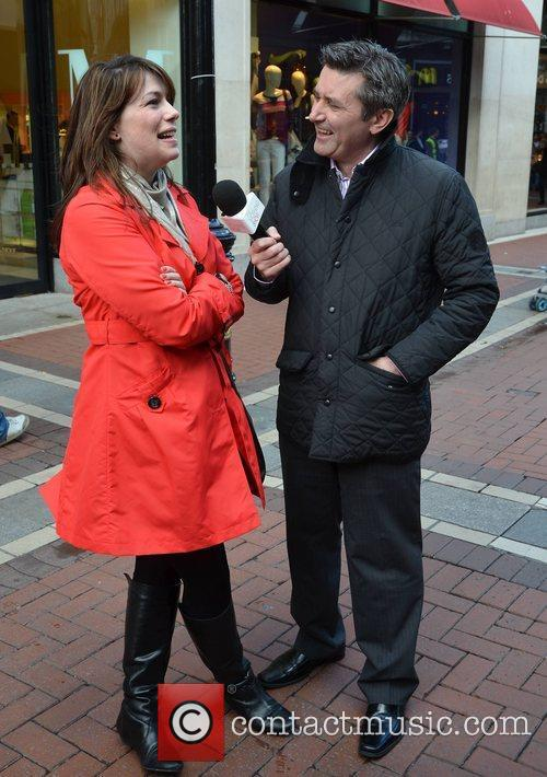 Interviewing shoppers on Grafton Street