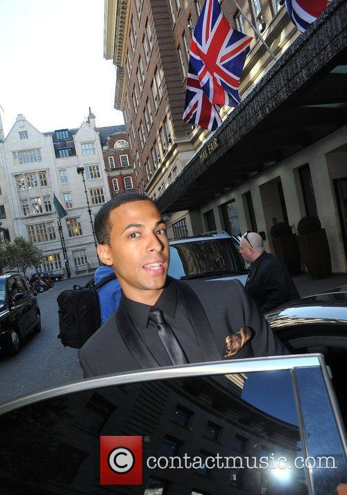 Marvin Humes leaving the May Fair hotel and...