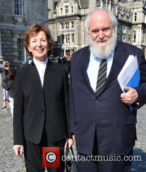 Former President of Ireland Mary Robinson and her...