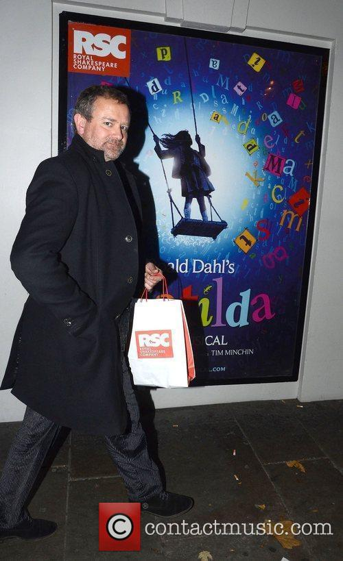 Leaving the Cambridge Theatre after the press night...