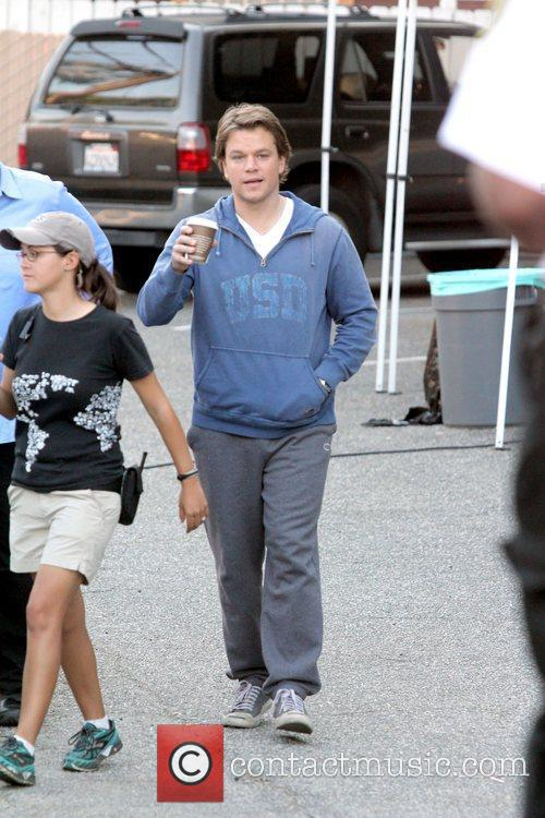 Matt Damon having a coffee on the set...