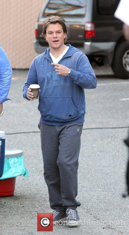 Matt Damon having a coffee on the set...