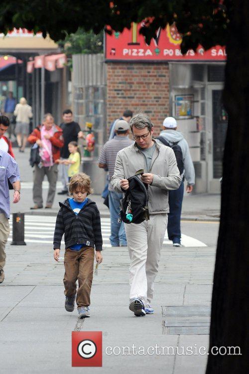 Matthew Broderick walks with his son James Wilke...