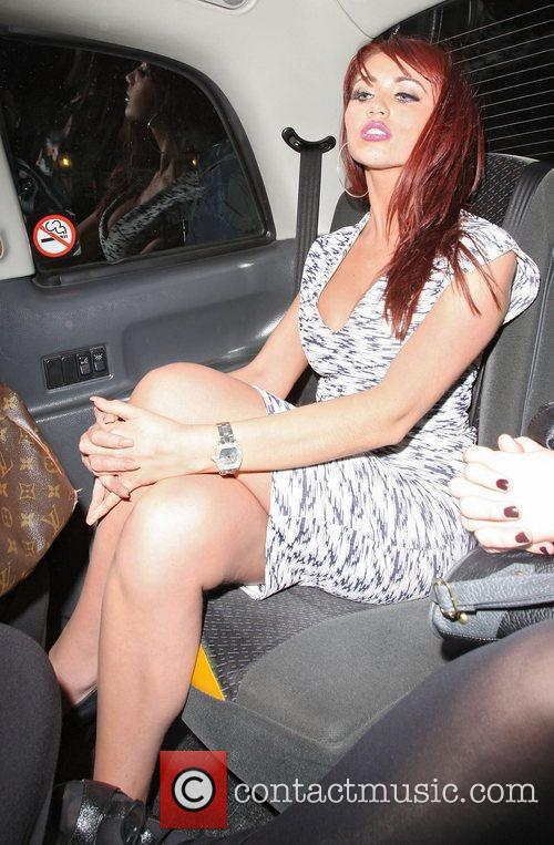Amy Childs leaving the May Fair hotel.