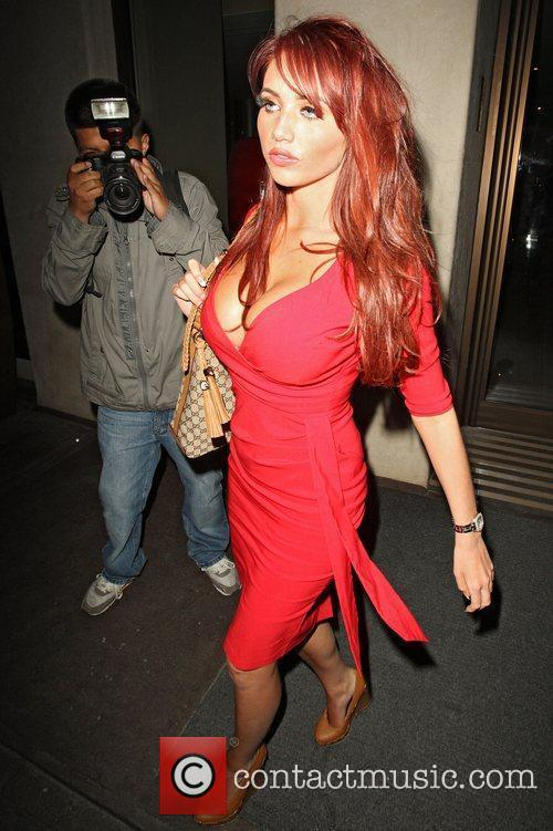 Amy Childs leaves the May Fair hotel in...
