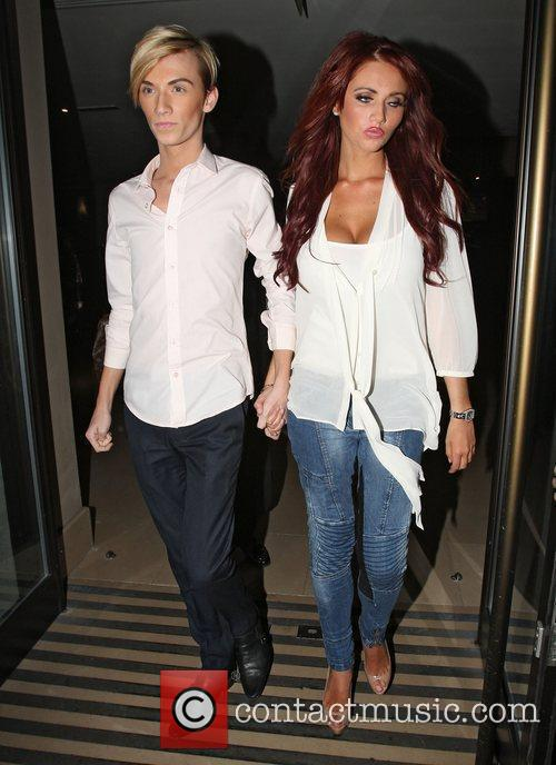 Harry Derbidge and Amy Childs leaving the May...