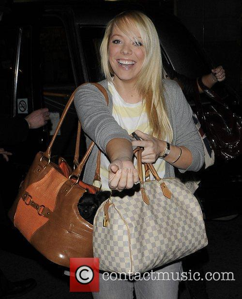 Liz McClarnon and her dog arriving at the...