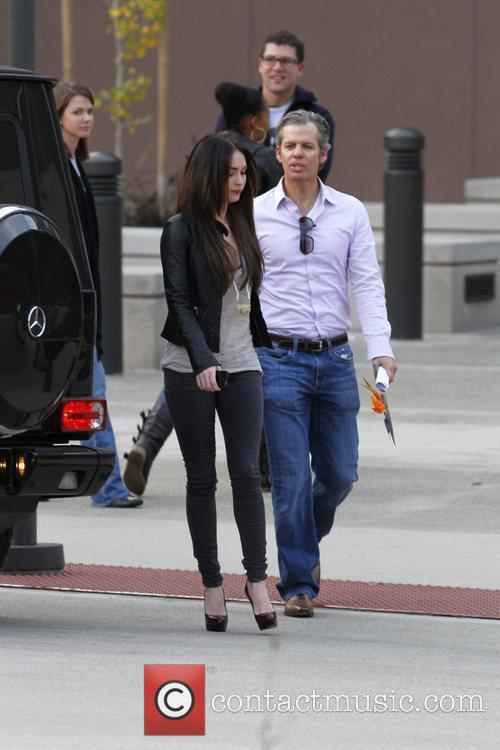 Megan Fox is seen exiting an office building...