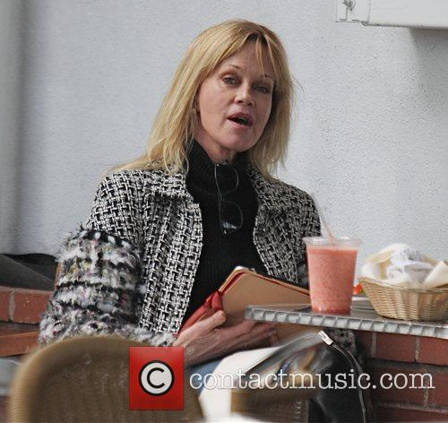 Melanie Griffth  having lunch while out shopping...