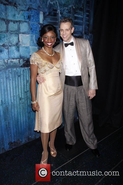 Montego Glover and Adam Pascal in costume Matthew...