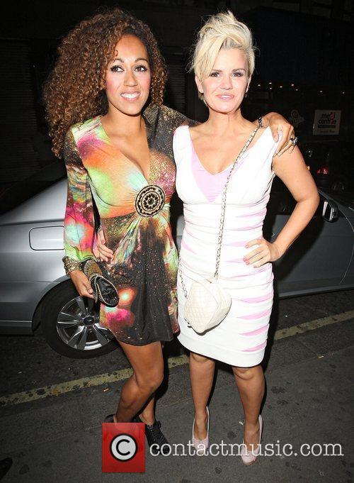 Danielle Brown and Kerry Katona arriving at Merah...