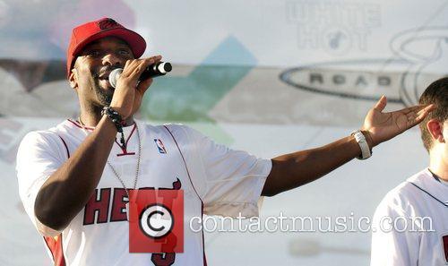 DJ Irie introduces rapper Ludacris at the Miami...