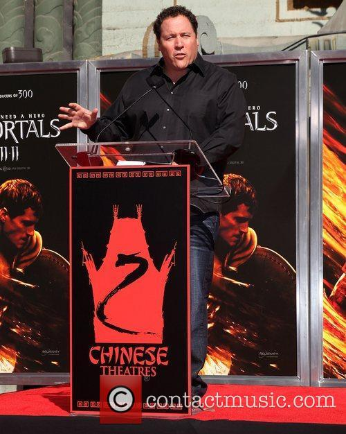 Jon Favreau speaking at the Hand and Footprint...