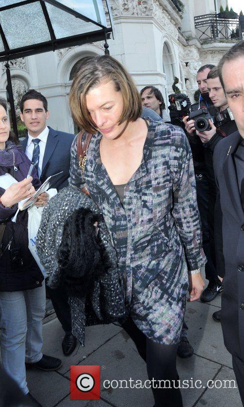 Milla Jovovich leaving her hotel in central London...